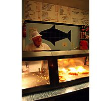 Sheffield Chip Shop interior with Owner Photographic Print