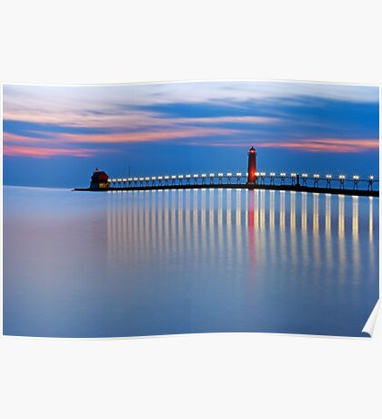 Grand Haven Michigan Pier Lights at Night Poster