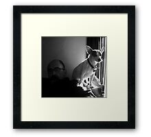 Jake with Petey at Window Framed Print
