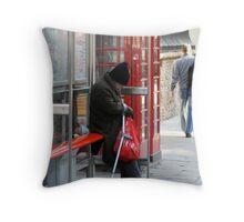 Homeless Man at Bus Stop Throw Pillow