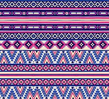 Pink and Blue Andes Aztec Pattern by ChicPink