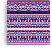 Pink and Blue Andes Aztec Pattern Canvas Print