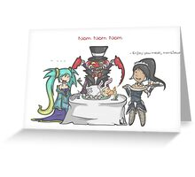 Sona , nidalee and Cho'Gath meal Greeting Card