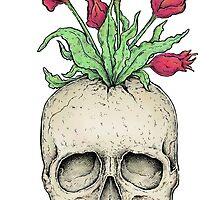 Skull flower vase by Eugenia Hauss