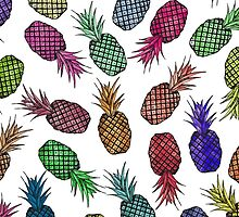 Hawaiian Pineapple Watercolor Pattern by ChicPink