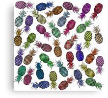 Hawaiian Pineapple Watercolor Pattern Canvas Print