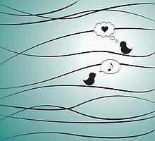 Love Birds - Blue by hartzelldesign
