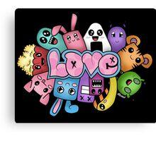 Doodle love - Colors /Black Background Canvas Print