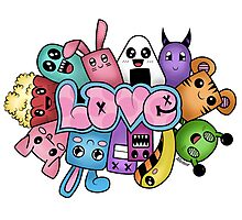 Doodle love - Colors /White Background Photographic Print