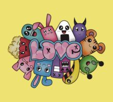 Doodle love - Colors /White Background Kids Clothes