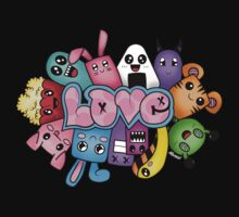 Doodle love - Colors /Black Background by alwaidd