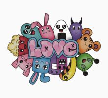 Doodle love - Colors /Black Background Kids Clothes
