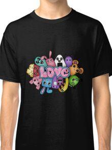 Doodle love - Colors /Black Background Classic T-Shirt