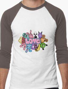 Doodle love - Colors /Black Background Men's Baseball ¾ T-Shirt