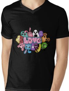 Doodle love - Colors /Black Background Mens V-Neck T-Shirt