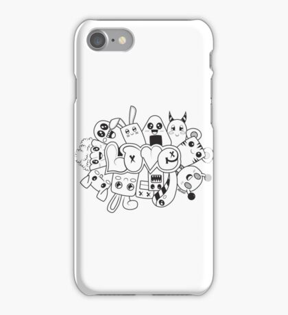 Doodle Love /Black and White iPhone Case/Skin