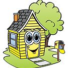 Yellow House Cartoon by Graphxpro