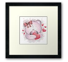 Pink bear with heart Framed Print