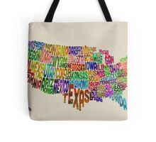United States Typography Text Map Tote Bag