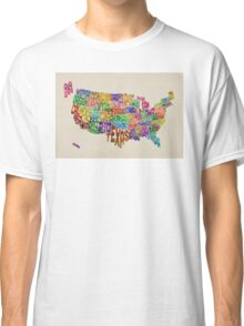 United States Typography Text Map Classic T-Shirt