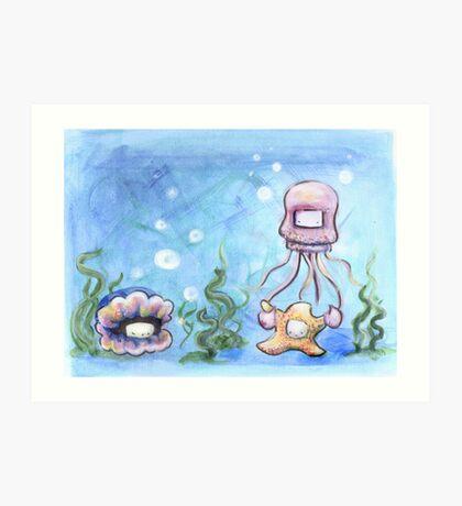Squid and Starfish Art Print