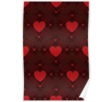 Red hearts pattern on dark background Poster