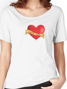 Red hearts with ribbon Women's Relaxed Fit T-Shirt