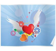 Red heart with angel wings Poster