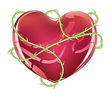Red Heart with Thorns Photographic Print