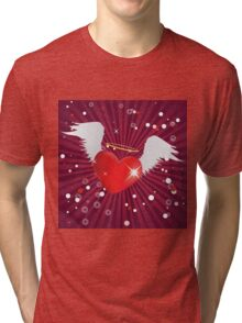 Shiny heart with angel wings Tri-blend T-Shirt