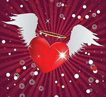 Shiny heart with angel wings by AnnArtshock