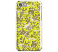 Bright Neon Yellow Floral Print Pattern iPhone Case/Skin