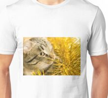 Tabby Cat and Yellow Tinsel 7 Unisex T-Shirt