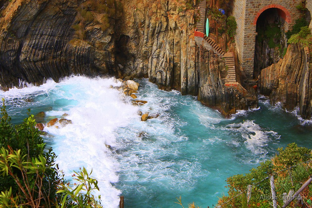 Crashing Waves at Riomaggiore, Italy by Alison Simpson