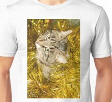 Tabby Cat and Yellow Tinsel 10 Unisex T-Shirt