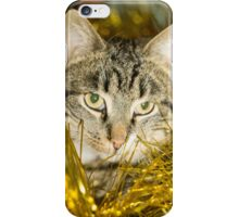 Tabby Cat and Yellow Tinsel 11 iPhone Case/Skin