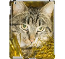 Tabby Cat and Yellow Tinsel 11 iPad Case/Skin