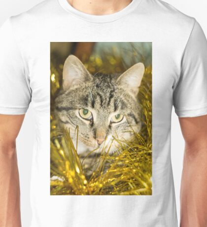 Tabby Cat and Yellow Tinsel 11 Unisex T-Shirt