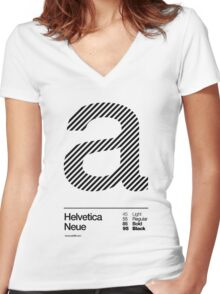a .... Helvetica Neue (b) Women's Fitted V-Neck T-Shirt