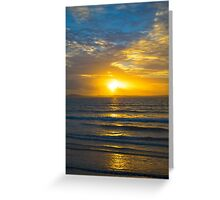 yellow sunset rays from beal beach Greeting Card