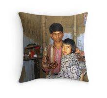 Assamese barber shop Throw Pillow