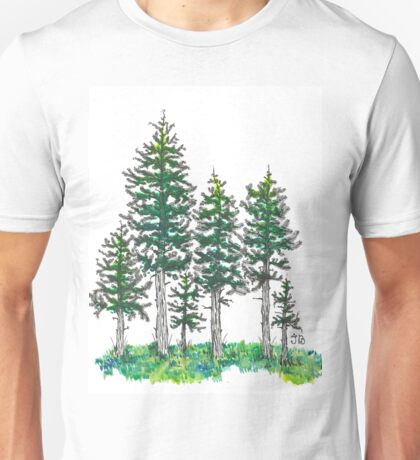 Watercolor and Ink Cypress Tree Unisex T-Shirt