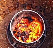Toasting the barrels. by Victor Pugatschew