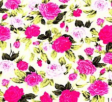 Pink and Yellow Hipster Floral Rose Pattern by ChicPink