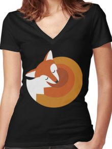 Sleeping Fox (Hounds Off) Women's Fitted V-Neck T-Shirt