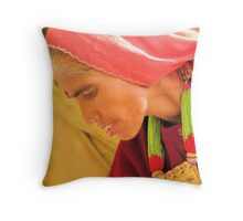 Lady in Red, Jaisalmer India 2008 Throw Pillow