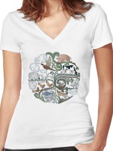 Born to Roam Women's Fitted V-Neck T-Shirt