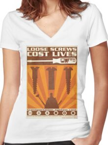 Time War Propaganda II Women's Fitted V-Neck T-Shirt