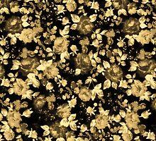 Dark Black and Brown Vintage Floral Pattern by ChicPink