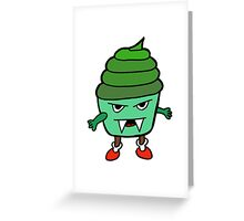 GREEN MUFFIN MONSTER Greeting Card